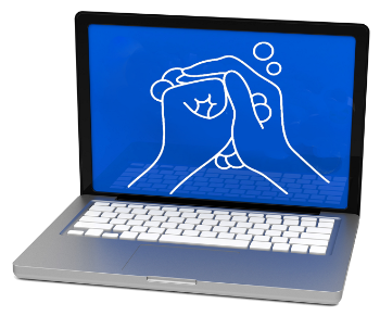 Open laptop showing a drawing of two hands washing each other