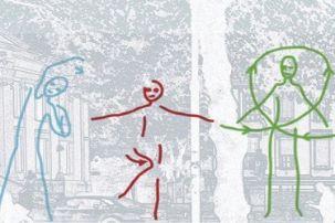 Three drawn figures performing exercises