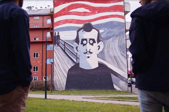 """House wall with a street art rendering av Edvard Munch's """"Skrik"""""""