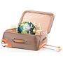 Open suitcase with a globe in it