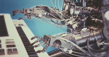 Robot playing the piano. Photo: Frank V/Unsplash.com