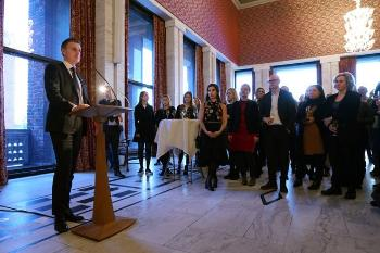 After the main event in the University Aula, the City of Oslo invited all conference attendees to a reception in Oslo City Hall.  Vice Mayor for Business Development and Public Ownership, Kjetil Lund, welcomed the audience before rector at UiO, Svein Stølen, thanked the City of Oslo for hosting the reception which has become an important part of the Oslo Life Science conference. Photo: UiO:Life Science, Terje Heiestad