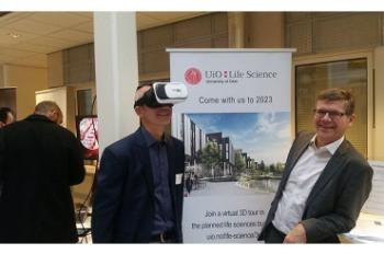 In October we attended at the Cutting Edge Festival in Oslo Science Park. We organized a stand were we showed our virtual 3D tour of the planned life sciences building, here demonstrated by director Finn-Eirik Johansen and chair of our board Svein Stølen. Several of UiO's life sciences researchers gave talk at the festival. The festival is hosted by Oslotech, Inven2 and UiO is a part of Oslo Innovation Week. It showcases the latest in science, technology and entrepreneurship.