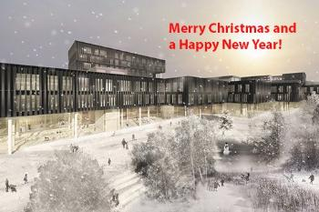 UiO:Life Science wish you all a Merry Christmas and Happy New Year with a Christmas atmosphere at the planned life sciences, chemistry and pharmacy building in Gaustadbekkdalen! Photo: Ratio arkitekter