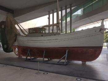 Image shows a boat used by refugees in the Mediterranean from an exhibition.