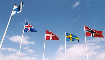 Five nordic flags.