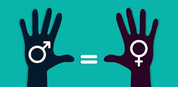 Two hands held up with the female sign on the left hand and the male on the right. There is an equal-to sign between them.