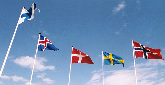 The flag of Finland, Iceland, Denmark, Sweden, and Norway against a blue sky