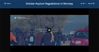 Still shot of video addressing 'Are you leaving your country in search of a job?' by the Norwegian Ministry of Justice and Public Security