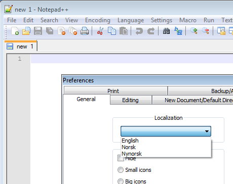 Changing display language in Notepad++ - University of Oslo