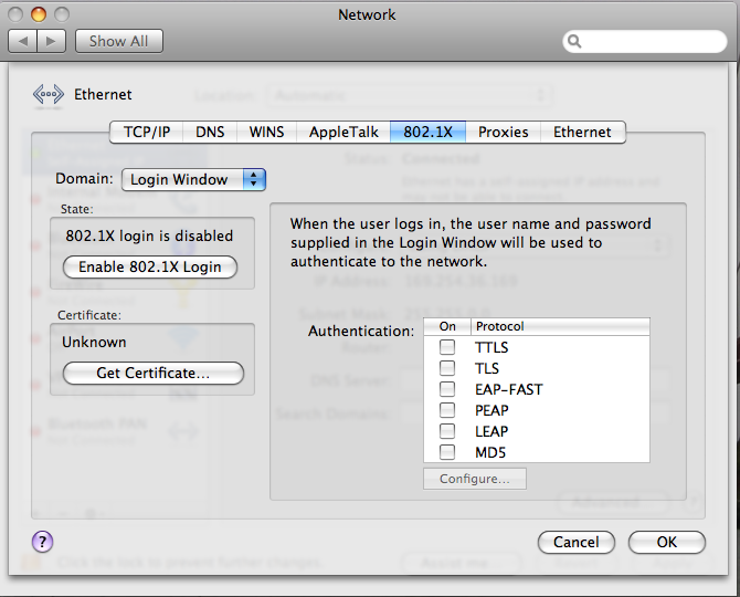 How to configure wired 802 1X for Mac OSX 10 5  - University