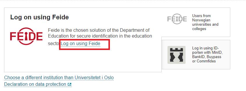 Screenshot from studentweb about login.