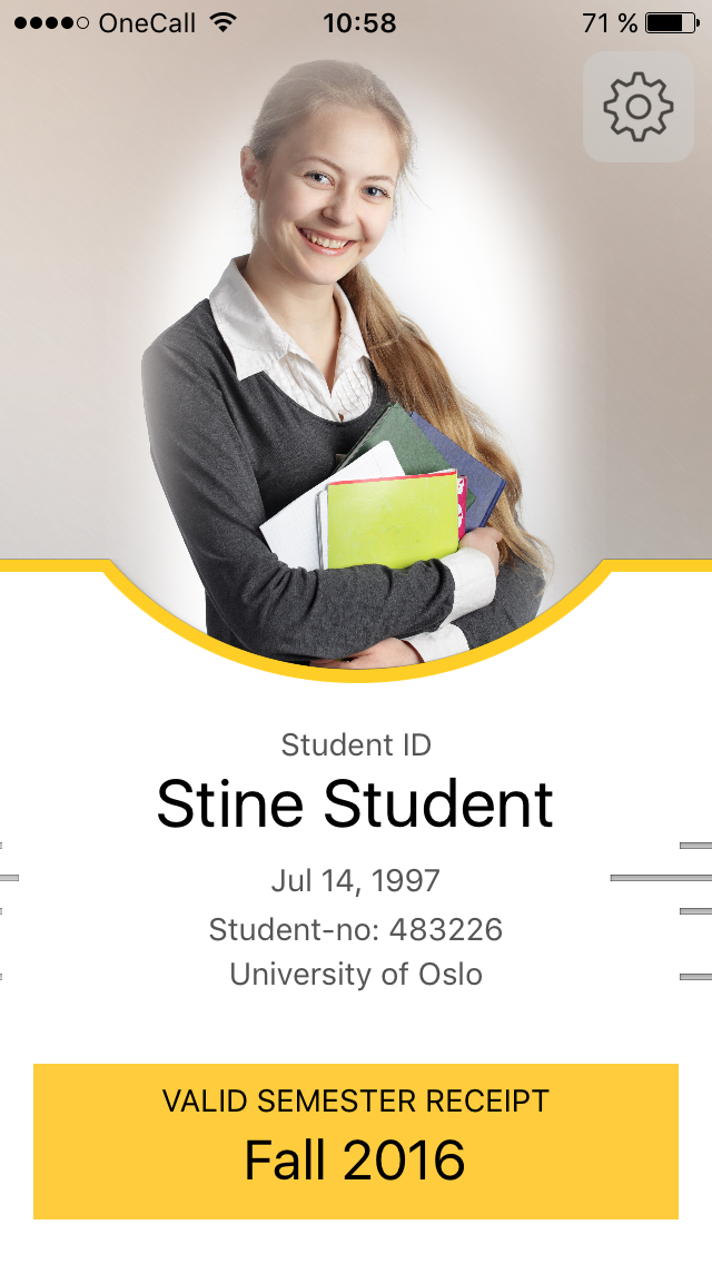 Picture of a valid Student ID