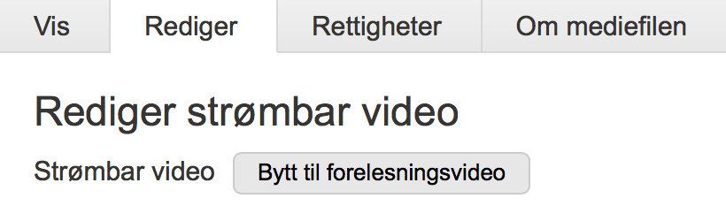 Knapp for å bytte til forelesningsvideo. Bilde.