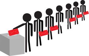 Illustrasjon av mennesker som legger sin stemme i urnen