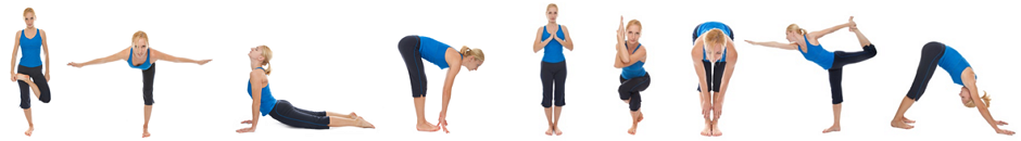 Woman in several training postures.