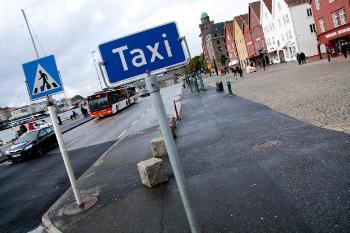 Taxiholdeplass på Bryggen i Bergen