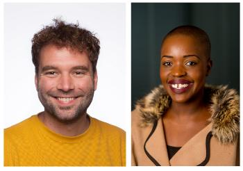 Smilende mann med krøllete kort hår og smilende kvinne med kort hår.