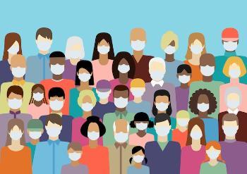 Illustrasjon av personer av en gruppe personer med munnbind