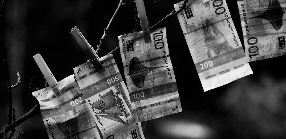 banknotes hanging on a string
