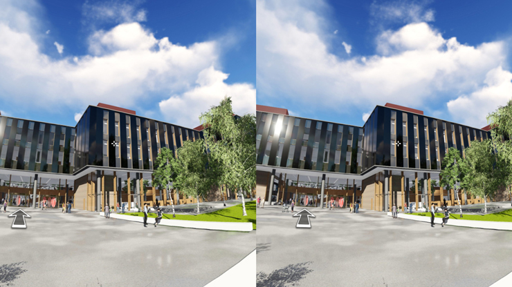 3D view entrance square the life science building