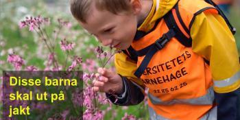 Barn på jakt etter blomster og bier