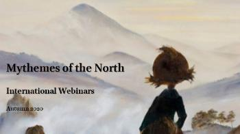 "Text ""Mythemes of the North, International webinars, Autumn 2020"", painting"