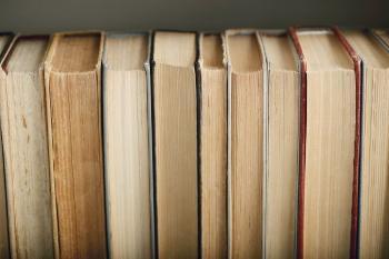 Bildet kan inneholde: bok, tre, så, beige, møbler.