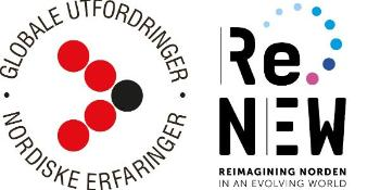 logoen til UiO:Norden, fem prikker satt opp i pilformasjon, sammen med ReNEWs logo