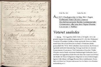 Saken Kjøpmann Hans Chrystie mot Den forhenværende Norske Commissariats-Commission, 14 mai 1817