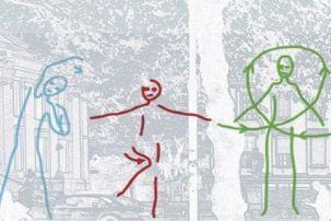 Tre strekfigurer som gjør fysiske øvelser
