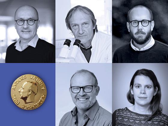 Collage av professor Poul Nissen, professor Jiri Lukas, professor Jiri Bartek, professor Barbara van Loon, docent Niklas Björkström og Anders Jahre mynt.