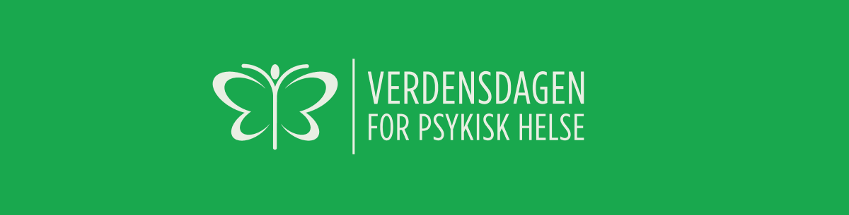 """Green banner with the text """"World Mental Health Day"""" in Norwegian."""