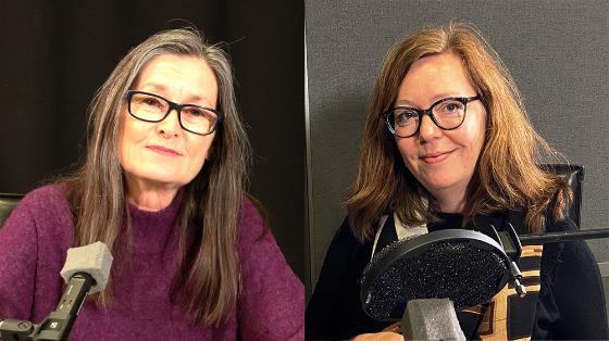 Sissel Gran og Line Cecilie Engh i radiostudio.