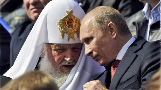 Patriark Kiril og Vladimir Putin.