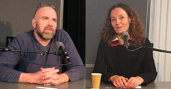 Helge Jordheim og Camilla Stoltenberg i et radiostudio