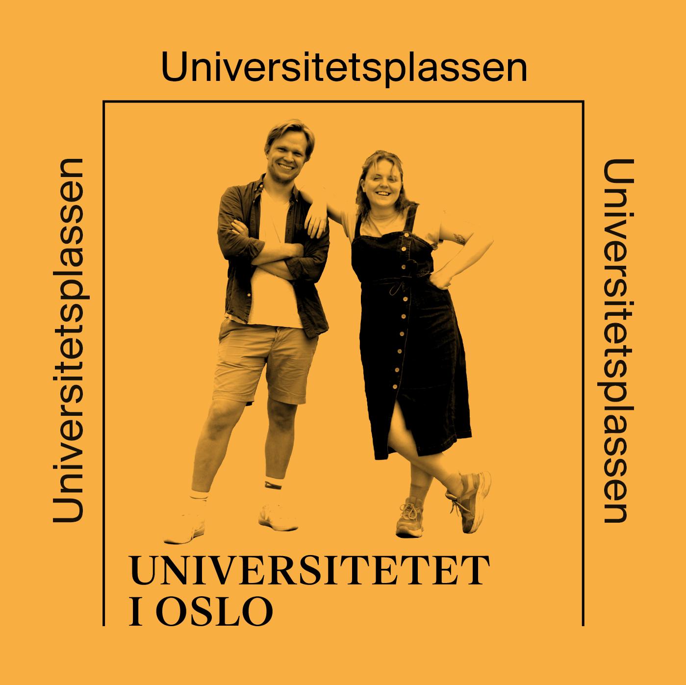 Universitetsplassen-podcastserie-grafisk element med bilde av programledere på gul bakgrunn