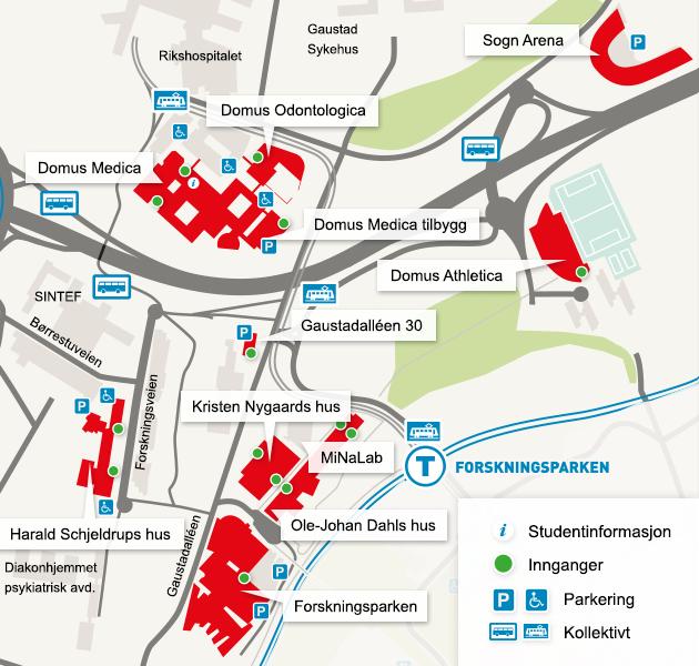 kart over rikshospitalet oslo Kart over universitetsområdet Gaustad og Rikshospitalet  kart over rikshospitalet oslo