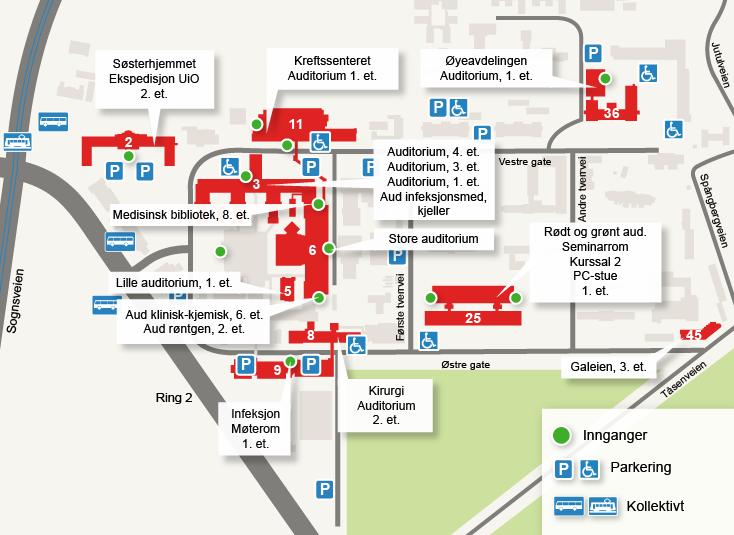 kart over ullevål sykehus Midtblokken   Universitetet i Oslo kart over ullevål sykehus