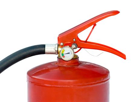 Rødt brannslukningsapparat. Foto.