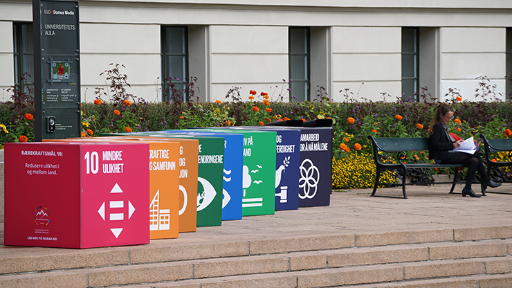 SDGs features outside the university aula