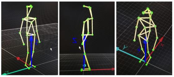 Motion capture stick figures