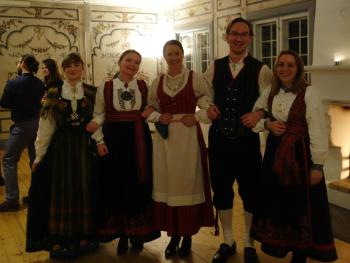 "We ended the year with a traditional ""julebord"" at the Folk museum at Bygdøy, complete with an introduction to Norwegian folk dance and folk music. Some RITMO members had dessed in traditional folk costumes for the occasion, from left: Benedicte Wallace, Mari Romarheim Haugen, Jonna Vuoskoski, Alexander Refsum Jensenius and Ragnhild Brøvig-Hanssen."