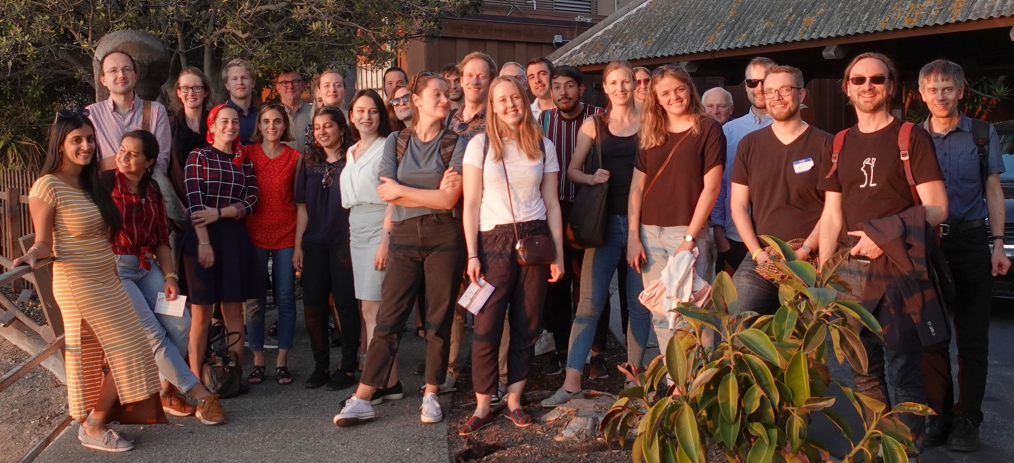 Many of the workshop participants gathered to see the sunset in the Berkeley marina before the final workshop dinner.
