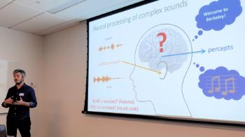 Postdoctoral fellow Ludovic Bellier talks about his explorations of recreating an auditory stimuli from brain data.