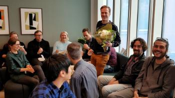 "The RITMO lunch is also the time for celebrating achievements, and, of course, birthdays. All international staff gets to learn the Norwegian birthday song ""Hurra for deg!"". Here we are celebrating Kyrre Glette."