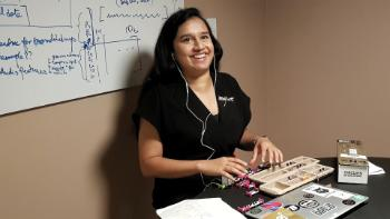 RITMO researcher Tejaswinee Kelkar prepares for teaching sound synthesis to female high school students as part of the new initiative WoNoMute (Women Nordic Music Technology).