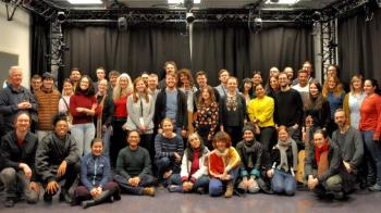 Participants and teachers at the NordicSMC Winter school. The participants came from all over the world to learn more about sound and motion analysis.