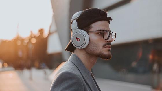 Young man with big headset.