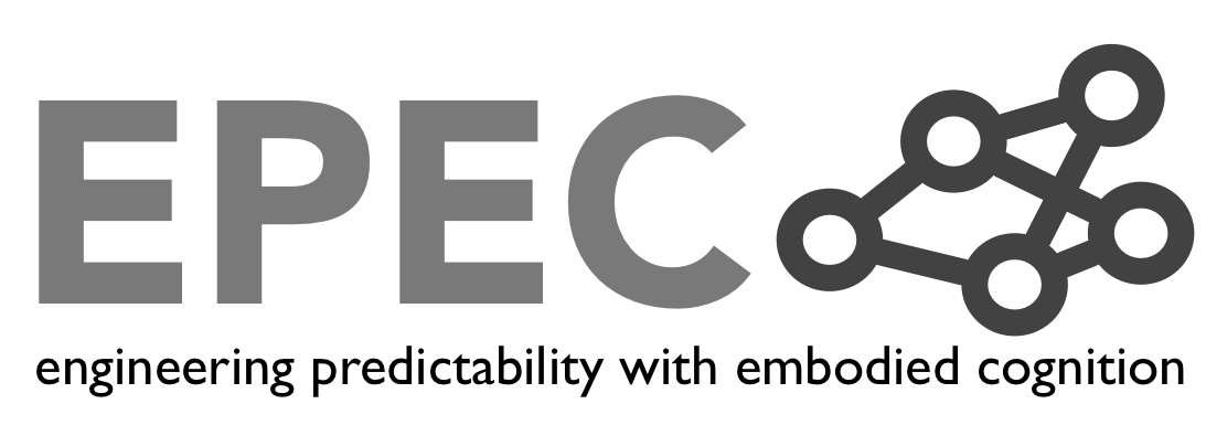 EPEC.  Engineering predictability with embodied cognition. It says with letters.. Logo.